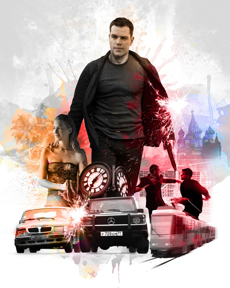Photo composite editorial illustration for Jason Bourne film, The Bourne Supremacy.